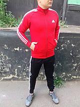 Мужской спортивный костюм Adidas.Красный/Черный/Синий.KD-1568, фото 2