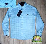 Яркий нарядный костюм Armani для мальчика 2-3 года: голубая или мятная рубашка и темно-синие брюки, фото 4