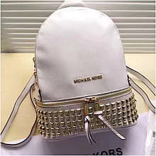 Рюкзак, портфель Майкл Корс шипи, в білому кольорі, натуральна шкіра