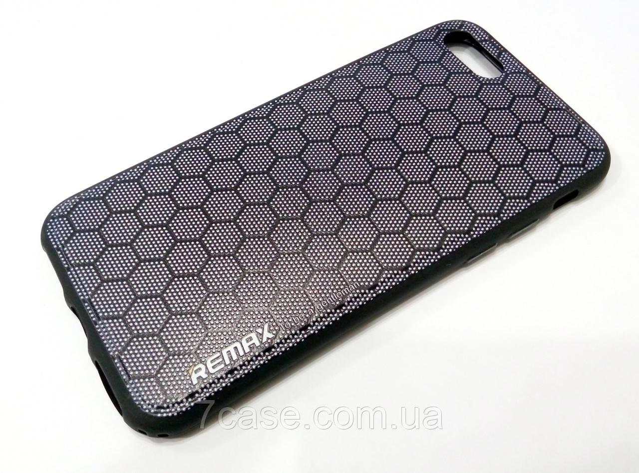 Чехол для iPhone 7 силиконовый Remax с рисунком соты серый