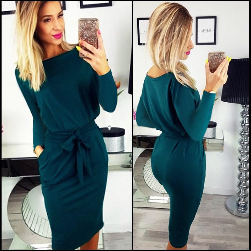 Изумрудное платье с поясом Erika (Код 159)ОВ