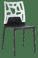 Стілець Papatya Ego-Rock чорне сидіння, верх білий, фото 1