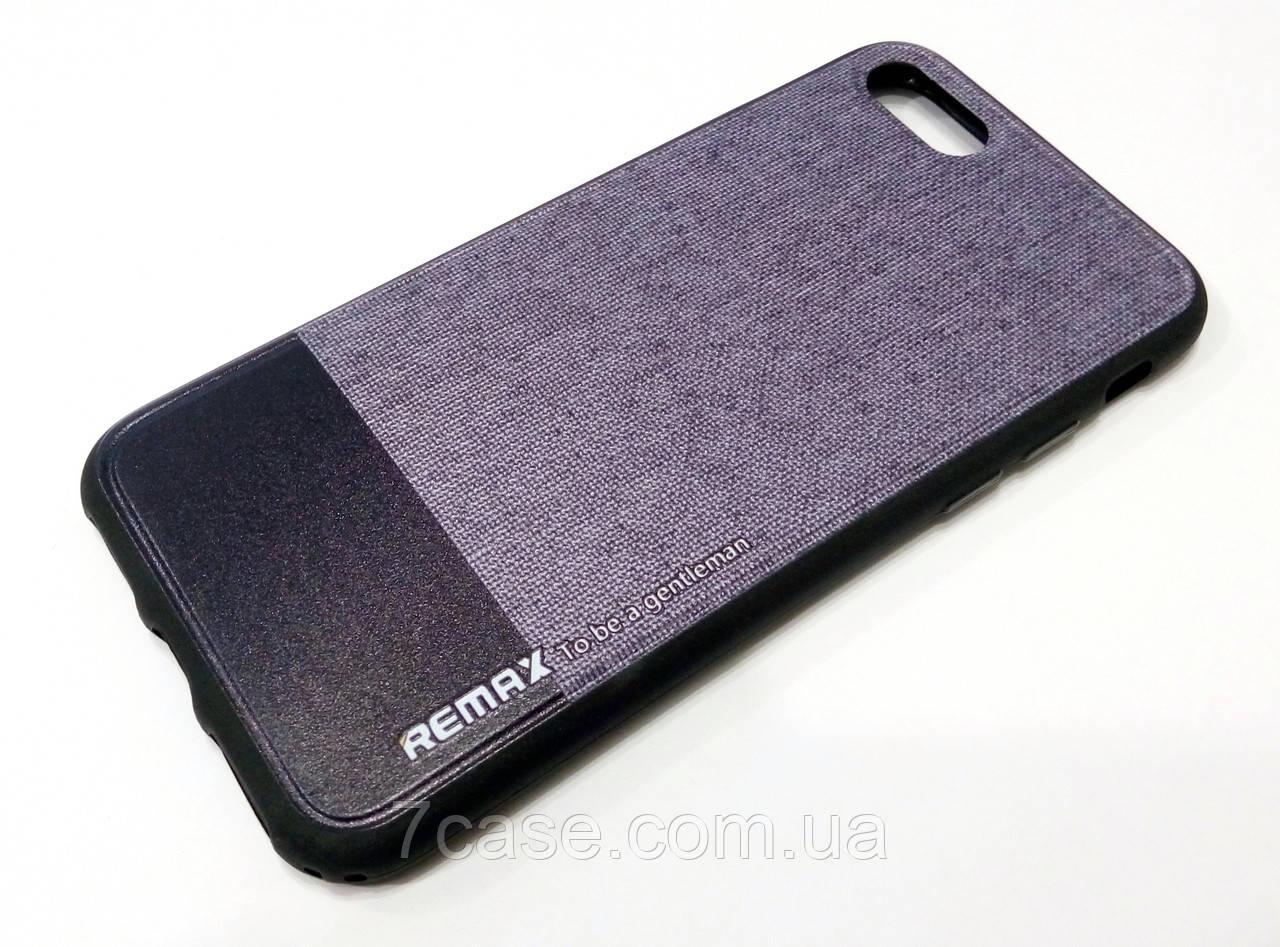 """Чехол для iPhone 7 силиконовый Remax с рисунком  """"под ткань"""" серый"""