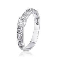"""Золотое кольцо с бриллиантом """"Бриллиантовая мелодия"""", белое золото, КД7498/1"""