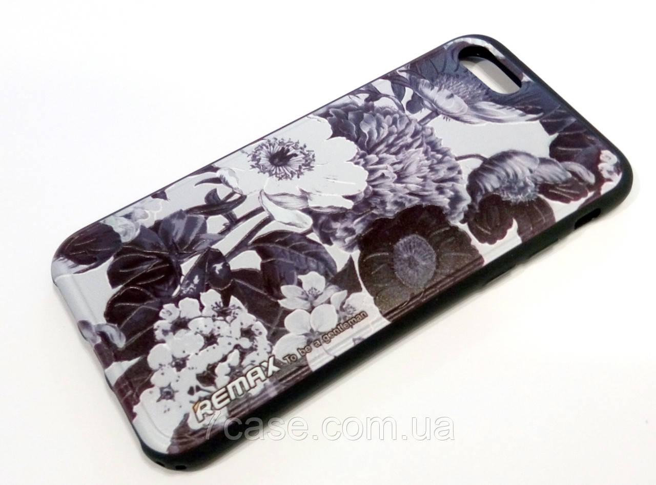 Чехол для iPhone 7 силиконовый Remax с рисунком цветы черный