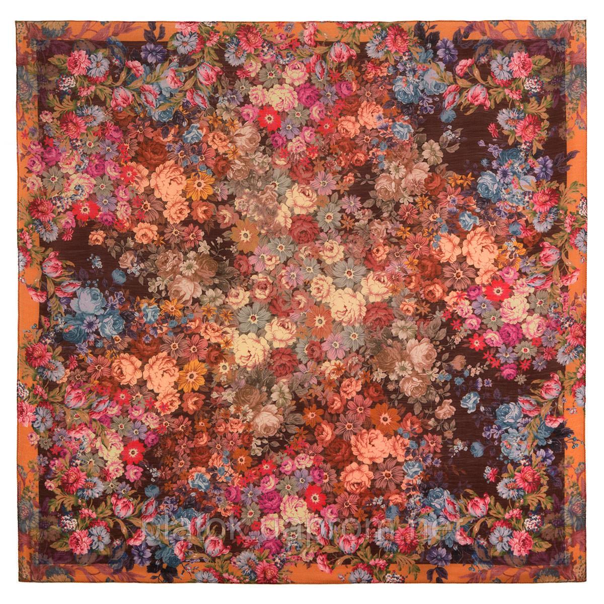 10200-16, павлопосадский платок шерстяной (разреженная шерсть) с швом зиг-заг