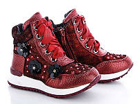 Осенние бордовые ботинки для девочек оптом от ТМ. GFB ( рр. с 26 по b301966921849