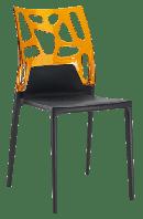 Стул Papatya Ego-Rock черное сиденье, верх прозрачно-оранжевый, фото 1
