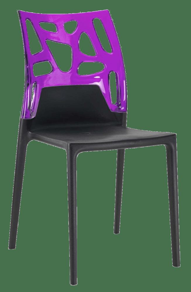 Стул Papatya Ego-Rock черное сиденье, верх прозрачно-пурпурный