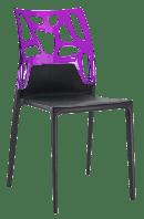 Стул Papatya Ego-Rock черное сиденье, верх прозрачно-пурпурный, фото 1