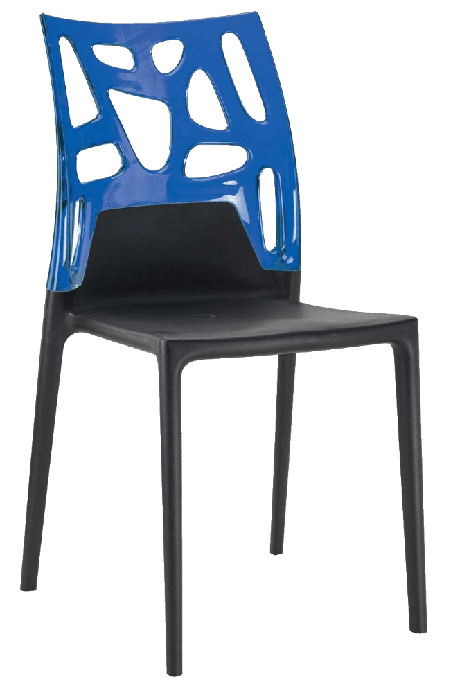 Стілець Papatya Ego-Rock чорне сидіння, верх прозоро-синій