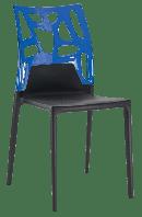 Стілець Papatya Ego-Rock чорне сидіння, верх прозоро-синій, фото 1