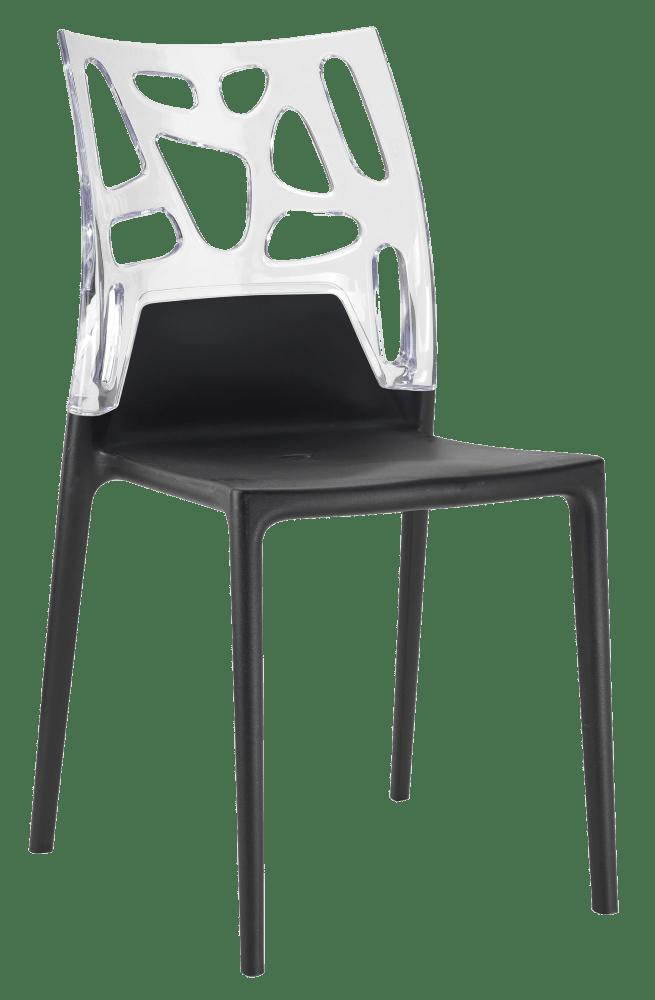 Стул Papatya Ego-Rock черное сиденье, верх прозрачно-чистый