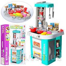 Кухня игровая детская 922-48 бирюзовая, посуда - продукты, звук, свет
