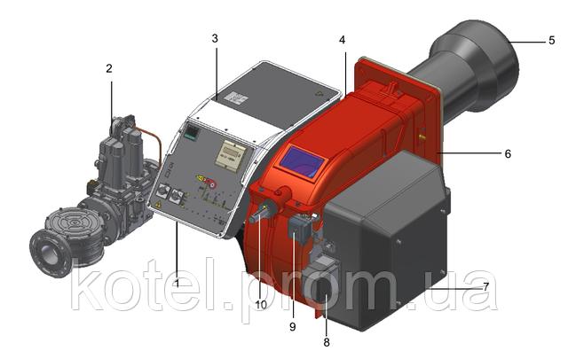 Схема газовых модуляционных горелок с менеджером горения Unigas Novanta R93A