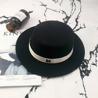 Шляпа женская канотье в стиле Maison Michel черная, фото 1