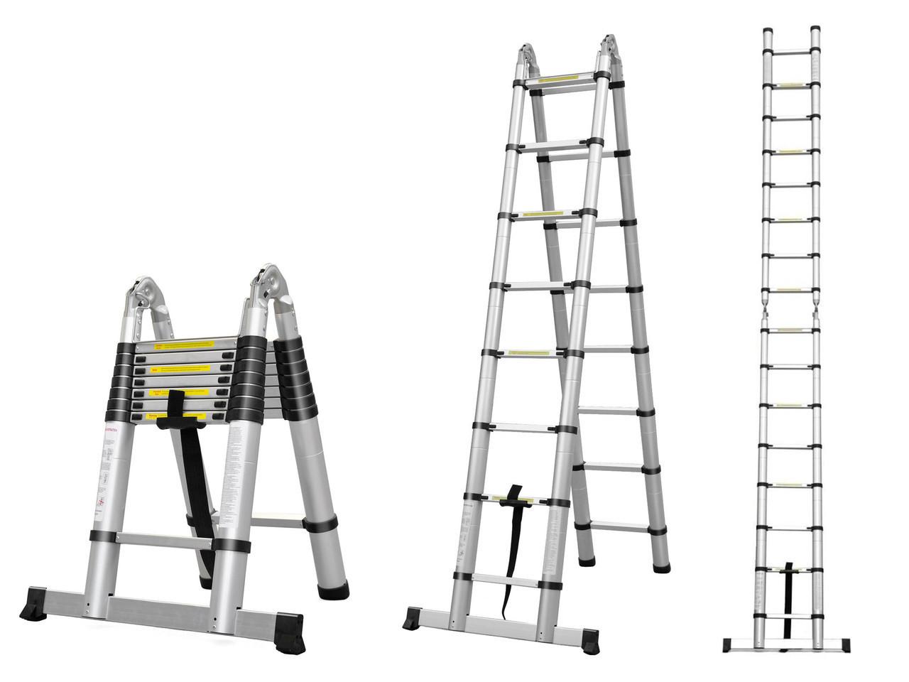 Лестница телескопическая алюминий 3.8 м + стабилизато