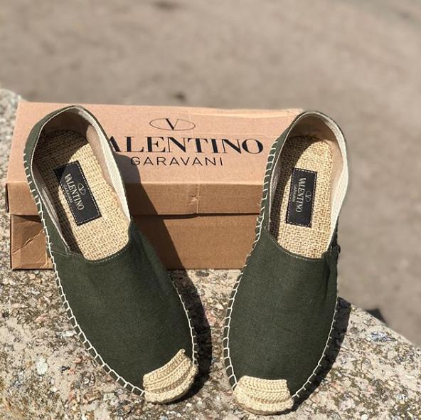 Эспадрильи мужские Valentino D3788 темно-зеленые