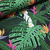 Хлопковая ткань польская попугаи белые в зеленых листьях на черном
