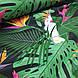 Хлопковая ткань польская попугаи белые в зеленых листьях на черном, фото 4