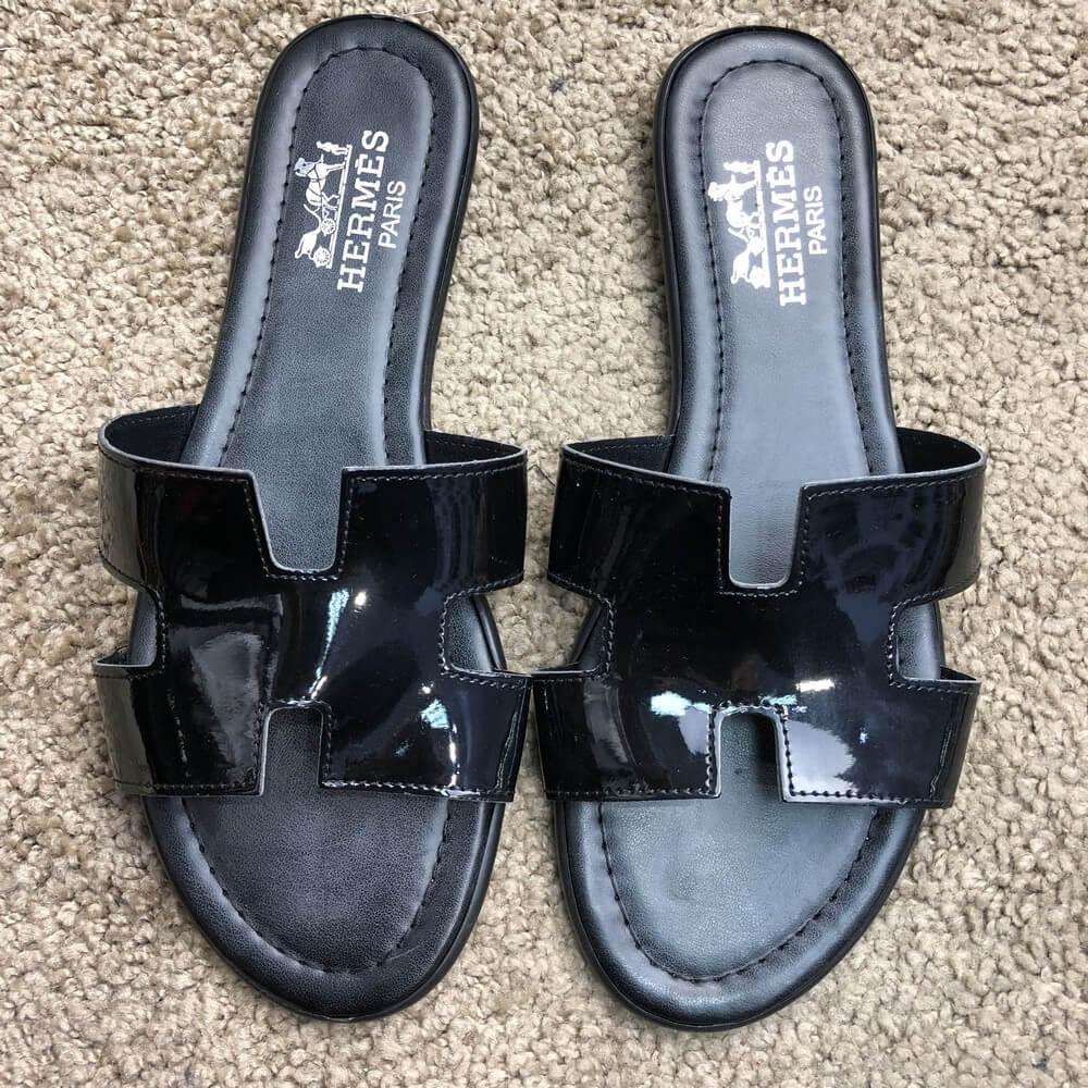 Hermes Slide Sandal Oran Patent Black, (Реплика)