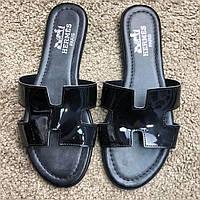 Hermes Slide Sandal Oran Patent Black, (Реплика), фото 1