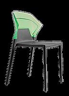 Стілець Papatya Ego-S антрацит сидіння, верх прозоро-зелений, фото 1