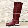 Сапоги бордовые на невысоком каблуке, натуральная кожа и замша, фото 2
