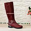 Сапоги бордовые на невысоком каблуке, натуральная кожа и замша, фото 3
