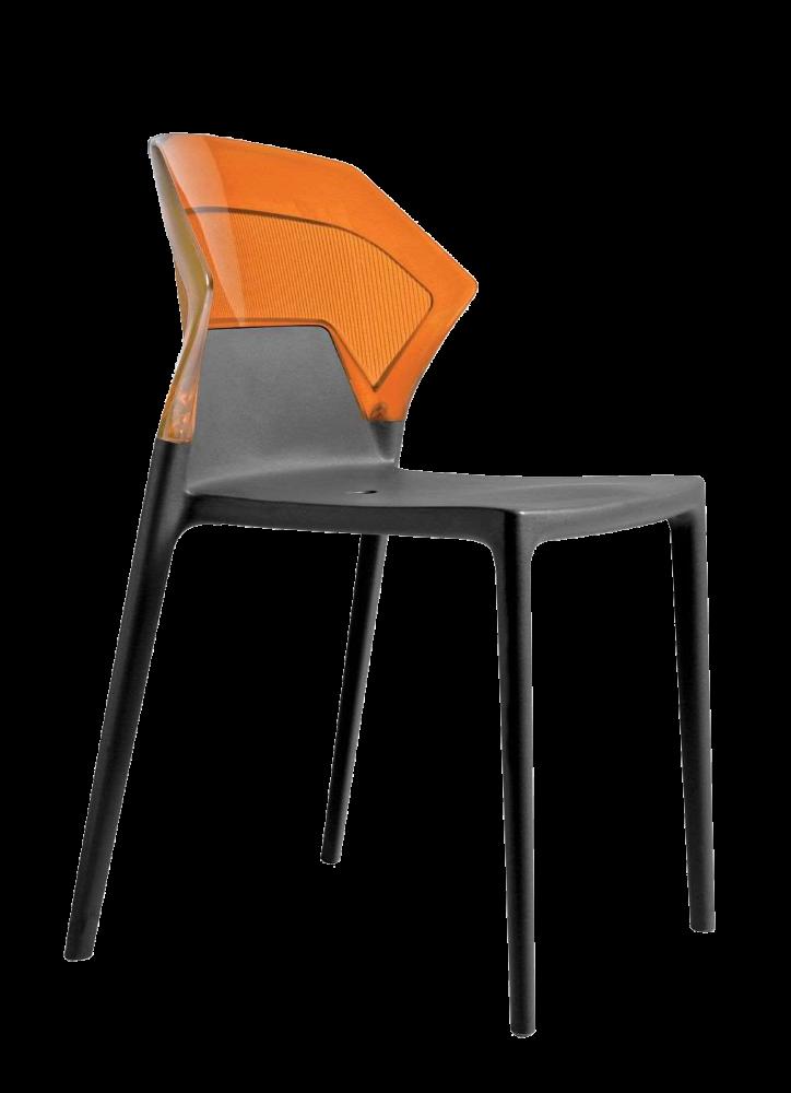 Стілець Papatya Ego-S антрацит сидіння, верх прозоро-помаранчевий