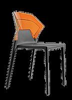 Стілець Papatya Ego-S антрацит сидіння, верх прозоро-помаранчевий, фото 1