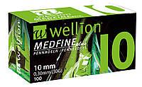 Иглы для инсулиновых шприц-ручек Wellion MEDFINE plus 0,30 мм (30G) × 10 мм №100