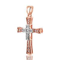 Золотой крест в двух цветах золота, с бриллиантами, КР7146 Eurogold