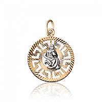 """Золотая подвеска со знаком зодиака """"Водолей"""", комбинированное золото, П0112/2"""
