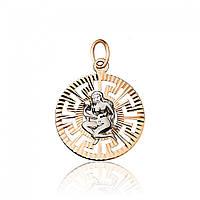 """Золотая подвеска в форме знака зодиака """"Дева"""", комбинированное золото, П0112/9"""