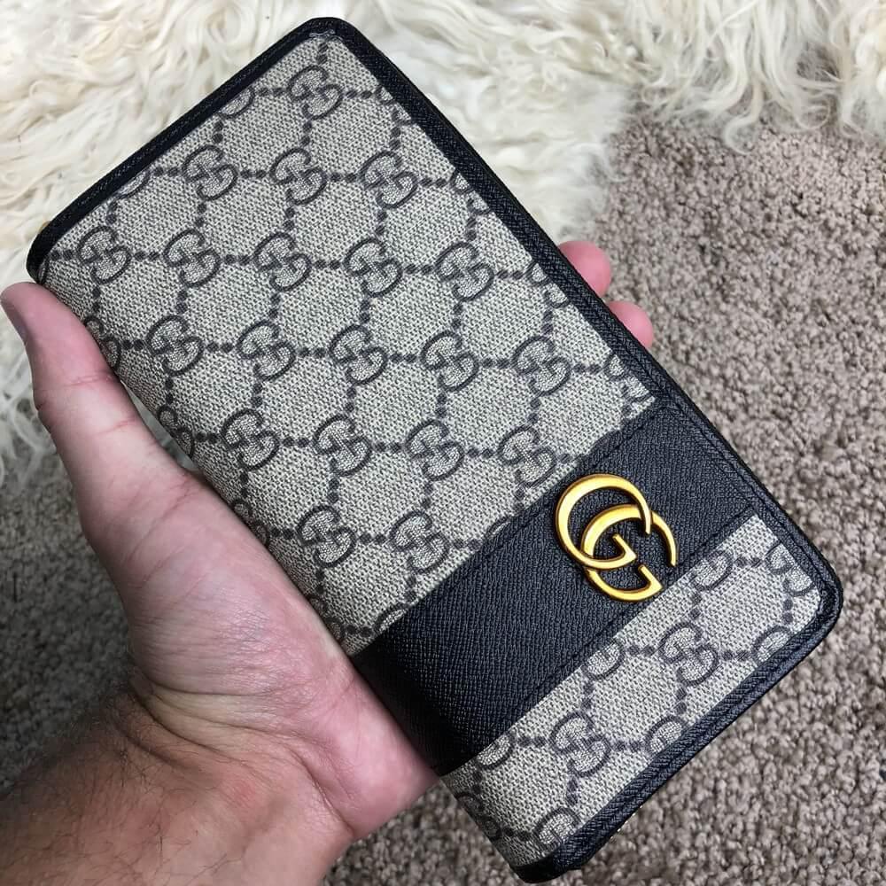 Gucci Zip Around Wallet Double G Buckle Supreme Canvas