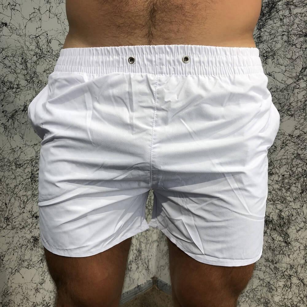 Gucci  ( Гуччи ) Swimming Trunk Web Logo Stripe White, (Реплика)