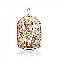 """Золотая ладанка без вставок """"Николай Чудотворец"""", красное золото, П058 Eurogold"""
