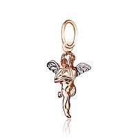 """Кулон """"Ангел"""", в сочетании белого и красного золота, П048 Eurogold"""