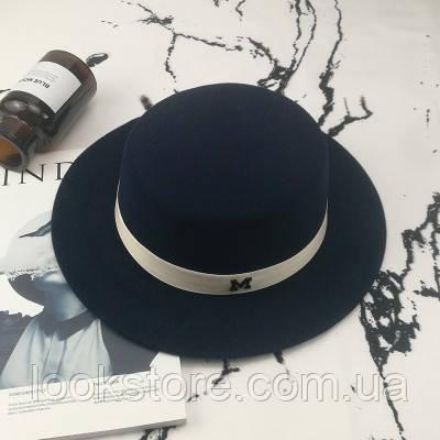 Шляпа женская канотье в стиле Maison Michel темно синяя