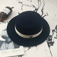 Шляпа женская канотье в стиле Maison Michel темно синяя, фото 1