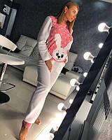 Пижама женскаяиз байки декорирована смешным зайкой