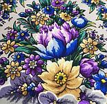 Злато-серебро 1731-17, павлопосадский платок (шаль) из уплотненной шерсти с шелковой вязанной бахромой, фото 4