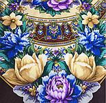 Злато-серебро 1731-17, павлопосадский платок (шаль) из уплотненной шерсти с шелковой вязанной бахромой, фото 6