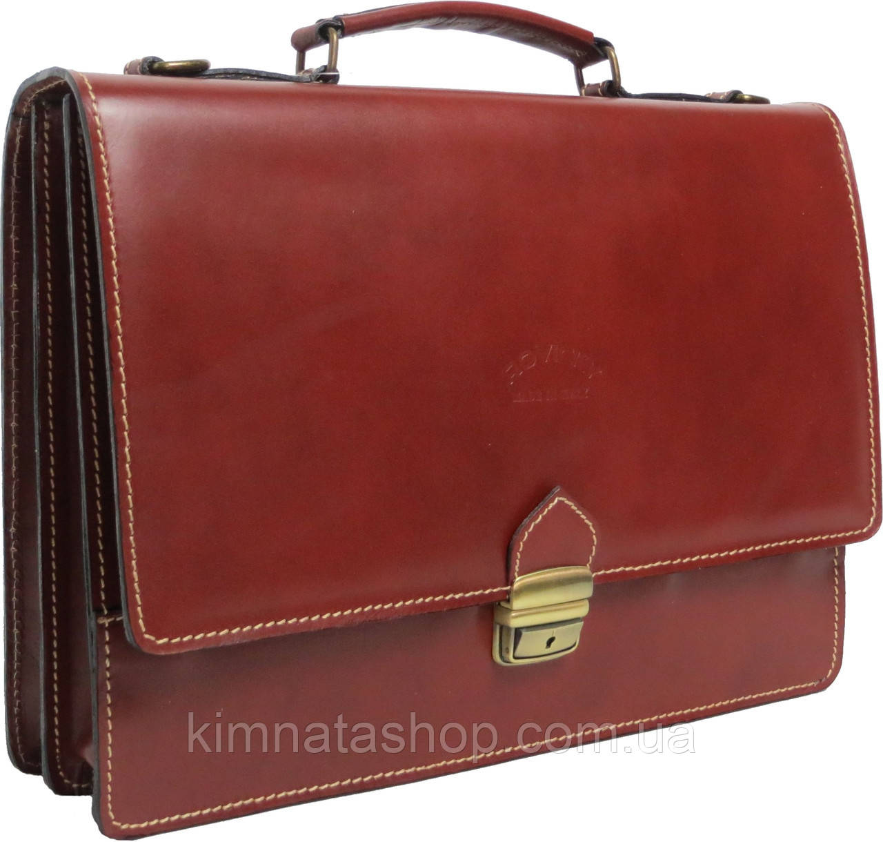 Чоловічий портфель з якісної натуральної шкіри Rovicky AWR-2-1 коричневий