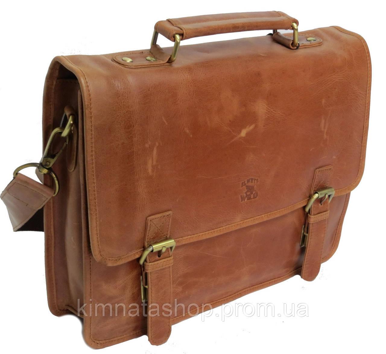 Стильна сумка-портфель з натуральної шкіри Always Wild 16921 коричнева 36х29х8 див.