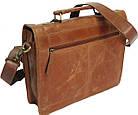 Стильная сумка-портфель из натуральной кожи Always Wild 16921 коричневая 36х29х8 см., фото 6