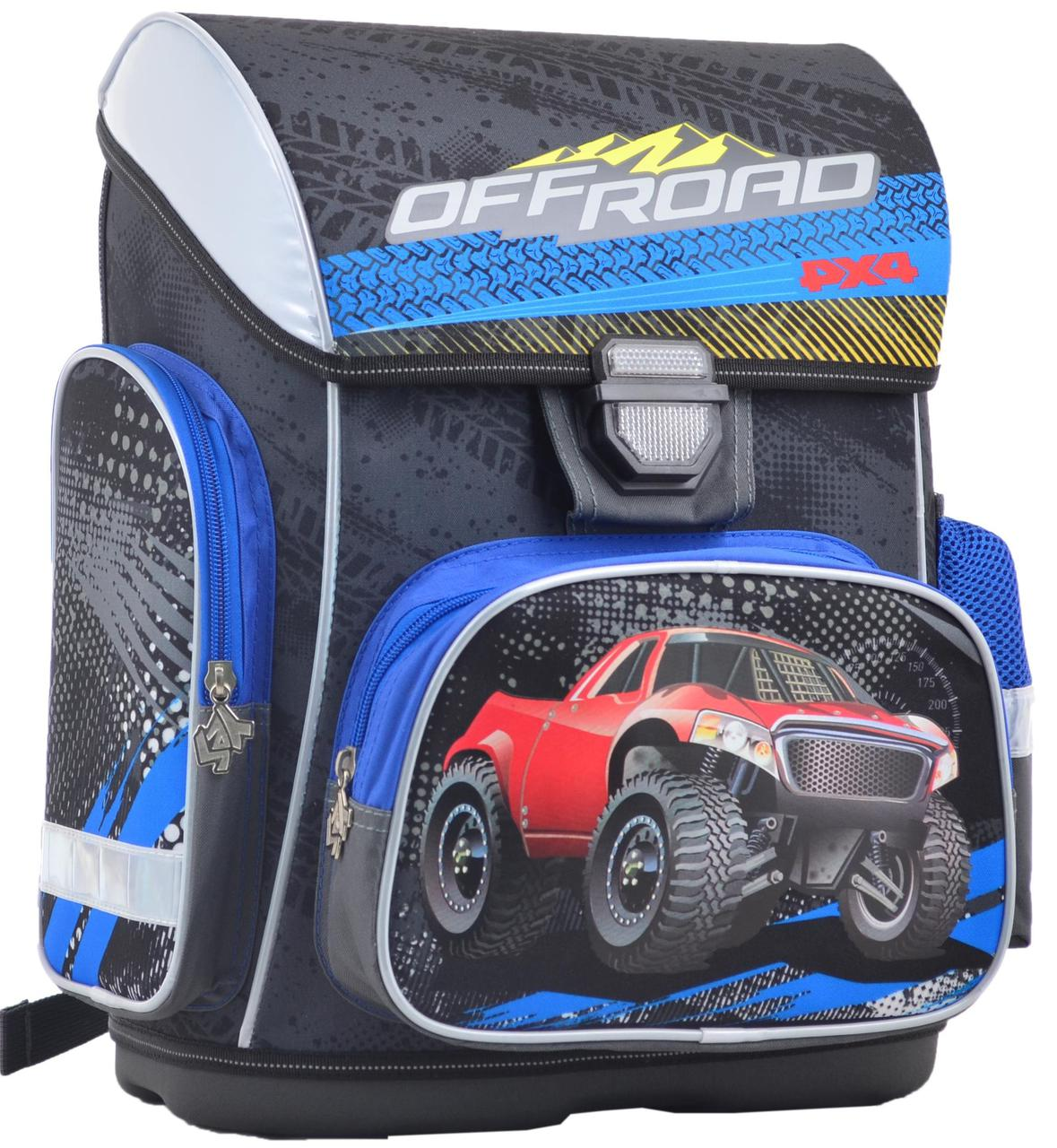 Школьный каркасный рюкзак 1 вересня H-26 Off-Road 555088 19 л Серый