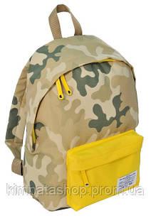 Стильний міський рюкзак 15 л. Paso CM-222E камуфляж/жовтий