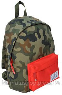 Компактный городской рюкзак 15 л. Paso CM-220A камуфляж/красный